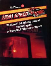 High Speed Williams Pinball Flyer/ Brochure/ Ad