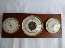 VINTAGE FRENCH PARIS BAROMETER THERMOMETER HYGROMETER OLD ROUND ON WOODEN PLATE