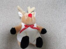 """Stuffed Reindeer Red Nose Red Polka Dot Bowtie Mary Mayer 5"""""""