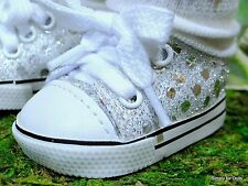 """SILVER Sequin DOLL SNEAKERS Tennis SHOES fits 18"""" AMERICAN GIRL Doll Clothes E/Z"""