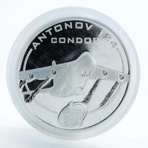 Cook Islands 1 dollar Antonov AN-124 Condor aircraft, silver proof coin, 2008