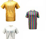 MENS METALLIC SHINY GLITTER T SHIRT FESTIVAL WETLOOK RAINBOW T SHIRTS LARGE GOLD