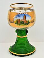 VINTAGE ROEMER GERMANY LARGE ETCHED GOBLET GLASS  GREEN CLEAR GOLD