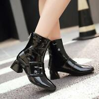 Mid Heels Pointy Toe Ankle Boots Buckle Women's Patent Leather Shoes Sizes Ske15