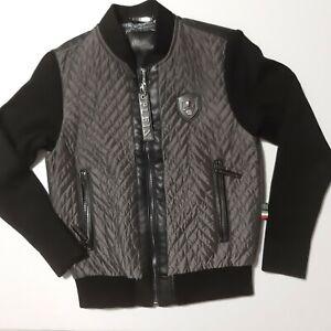 Philipp Plein Herren Materialmix Jacke, Farbe,:Grau/Schwarz, Größe:3XL