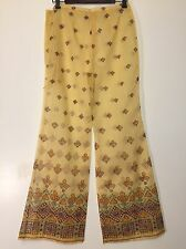 Vintage 1970s Yellow Sheer Ethnic Print Bell Bottom Pants Belt Boho Palazzo 70s
