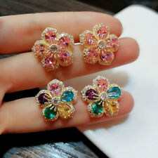 Gorgeous Shiny Pink Rainbow Topaz Flower Stud Earrings Gold Wedding Jewelry Gift