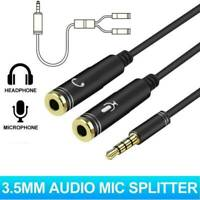 3.5mm Headphone Male to 2 Female Y Splitter Audio Mic Adapter Cable BLACK