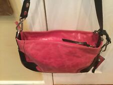EUC Tano Brand All Leather Bright Pink With Black Accents Hobo Style Handbag