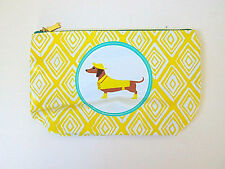 NEW Dachshund weiner dog yellow diamonds zip pouch makeup purse clutch wallet