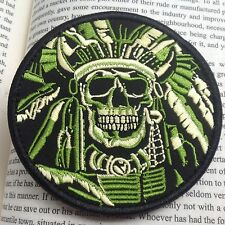 DEATH SKULL WAR CHIEF USA ARMY MORALE MILSPEC AIRSOFT PATCH /GREEN