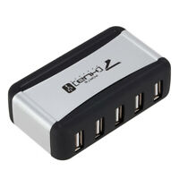 Vertical USB Hub Multi 7 Ports USB 2.0 Splitter with Power Adapter for PC