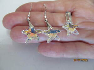 Starfish Earrings and Pendant, Sterling Silver, Using Swarovski AB Crystals