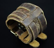 B22 Classic Double Bands Vintage Leather Wristband Cuff Bracelet Bronze Clasp
