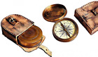"""2.5"""" Robert Frost Poem Compass with Handmade Leather Carry Case Free Antique"""