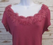 MAURICES M Pink Tunic With Faux lined Neckline with Scrunches on Side #367B