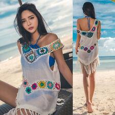 Ladies Tassel Crochet Beach Dress Swimwear Bathing SuitBikini CoverUp Tops HT