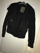 Goi Goi Womens Women Black Wool Bomber Jacket Size Small