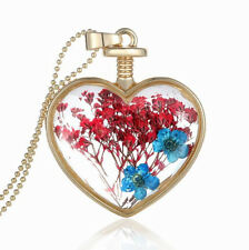 Romantic Heart Pink Blue Dried Flowers Perfume Bottle Pendant Necklace N381