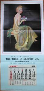 """Pinup Girl/Flowers 1958 Advertising Calendar/22""""x44"""" Poster-Touch of Tenderness"""
