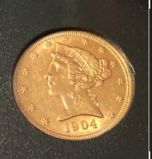 1904 Gold $5 Liberty Head Half Eagle Very Beautiful Coin