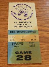 Minnesota Fighting Saints Ticket Stub - Febuary 14 1976 - Bruce Boudreau