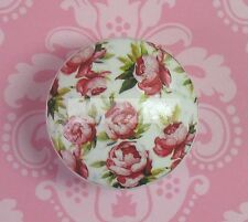 PINK ROSES Ceramic Knob desk Flowers Cabinet Drawer Pull chic shabby Romantic