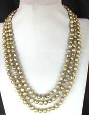 "3rows freshwater pearl baroque champagne necklace 20-22"" wholesale nature gift"