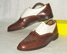 KENNETH COLE / ITALY / EXQUISITE BROGUE IN BROWN & BONE / 8.5 / OUTSTANDING