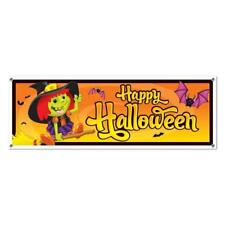 New Jumbo Happy Halloween Banner Flying Friendly Witch Wall Party Decoration