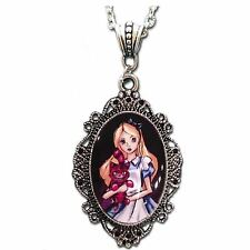 Womens Alice In Wonderland Cheshire Cat Cameo Necklace Costume Jewelry Accessory