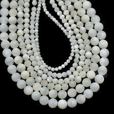 4mm 6mm 7mm 8mm Natural White & Yellow Mother Of Pearl MOP Shell Round Beads 16""