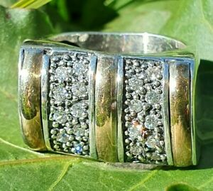 Sterling Silver  9K Gold Cubic Zirconia Ring  Size N (6.5)