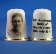 Birchcroft China Thimble -- Beatrix Potter 150th Commemorative - Free Dome Box