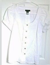 Apostrophe Stretch Women's Dressy Sheer Small Blouse white button down WXS1