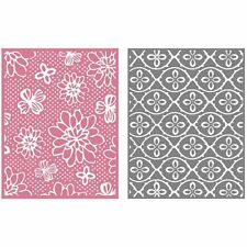 "Quickutz Embossing folder ""Flower Patch"" A2 card making  2 folders double pack"
