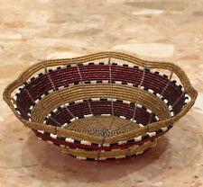 "Kenya Tanzania Masai East African Glass Seed Bead Handmade Wire Basket Bowl 6"""