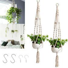 More details for garden plant hangers flower pot holder indoor macrame hanging basket with hooks