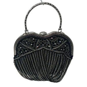 Vintage Black/Gray Beaded Evening Bag Purse Handbag Removable Chain