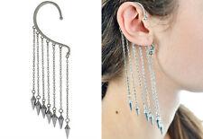 Pair of Spike Silver Plated Earrings Drop Dangle Ear Stud Cuff Clip