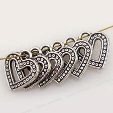 50pcs Wholesale Antique Silver Plated Heart Alloy Charms Pendant Fits Necklace J