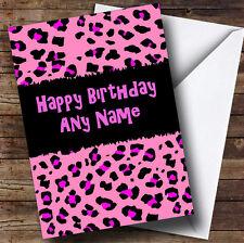 Pink Leopard Animal Print Personalised Birthday Greetings Card