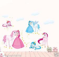Wandtattoo Prinzessin Einhorn Wandaufkleber Sticker Bilder Kinderzimmer Mädchen