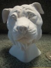 Pit Bull Dog Head Bust Ceramic Bisque U-Paint Ready To Paint Dogs