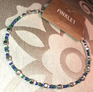Cute! New With Tag Zad Silver & Colored Beaded Anklet Lead & Nickel Free