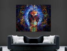 Cartel de cráneo Trippy impresión de fotos de arte abstracto grande enorme