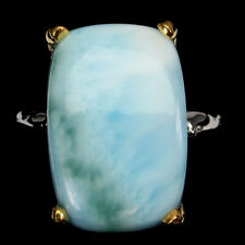 Handmade Unheated Antique Blue Larimar 14.38ct 925 Sterling Silver Ring Size 8.5
