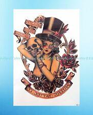 "Vintage Girl Skull Rose 8.25""extra large temporary arm tattoo hipster vintage"