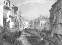 Spain GRANADA RIVER DARO ALHAMBRA FORTRESS WATCHTOWER ~ 1837 Art Print Engraving