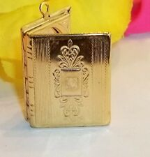 """Vintage Gold Plated Book Locket Pedant Jewelry Opens Panel Ornate 1 1/8"""" x 13/16"""
